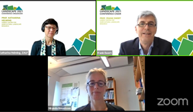 Auf der Landscape 2021 diskutieren derzeit mehr als 400 Teilnehmende. Prof. Frank Ewert und Prof. Katharina Helming vom ZALF und Prof. Miranda Meuwissen, Universität Wageningen eröffneten die virtuelle Konferenz.