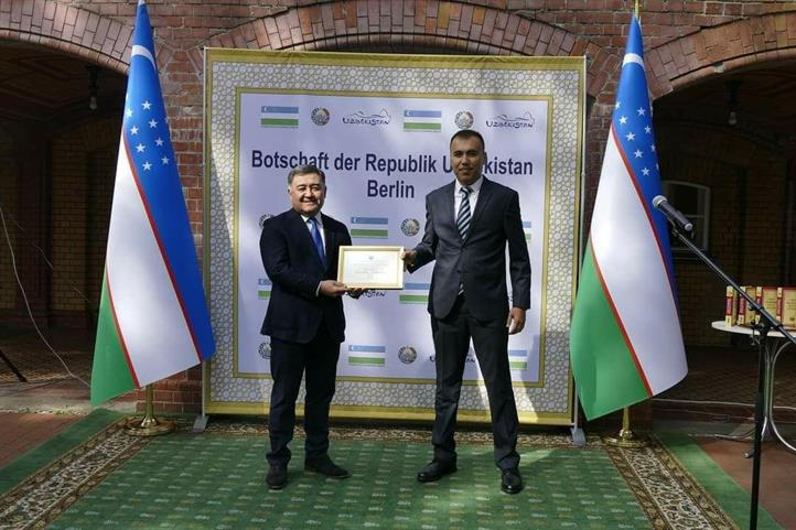 Honorary Certificate of the Uzbek Embassy for Dr. Hamidov