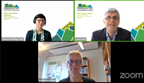 More than 400 participants are currently discussing at Landscape 2021. Prof. Frank Ewert and Prof. Katharina Helming from ZALF and Prof. Miranda Meuwissen, Wageningen University opened the virtual conference.